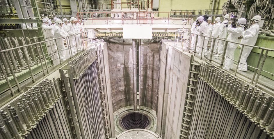 Первая тепловыделяющая сборка загружается в реактор блока № 1 строящейся Ленинградской АЭС
