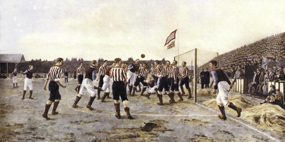 «Сандерленд» против «Астон Виллы», Томас Хеми, 1895год. Сюжет картины — матч между двумя популярными английскими командами того времени