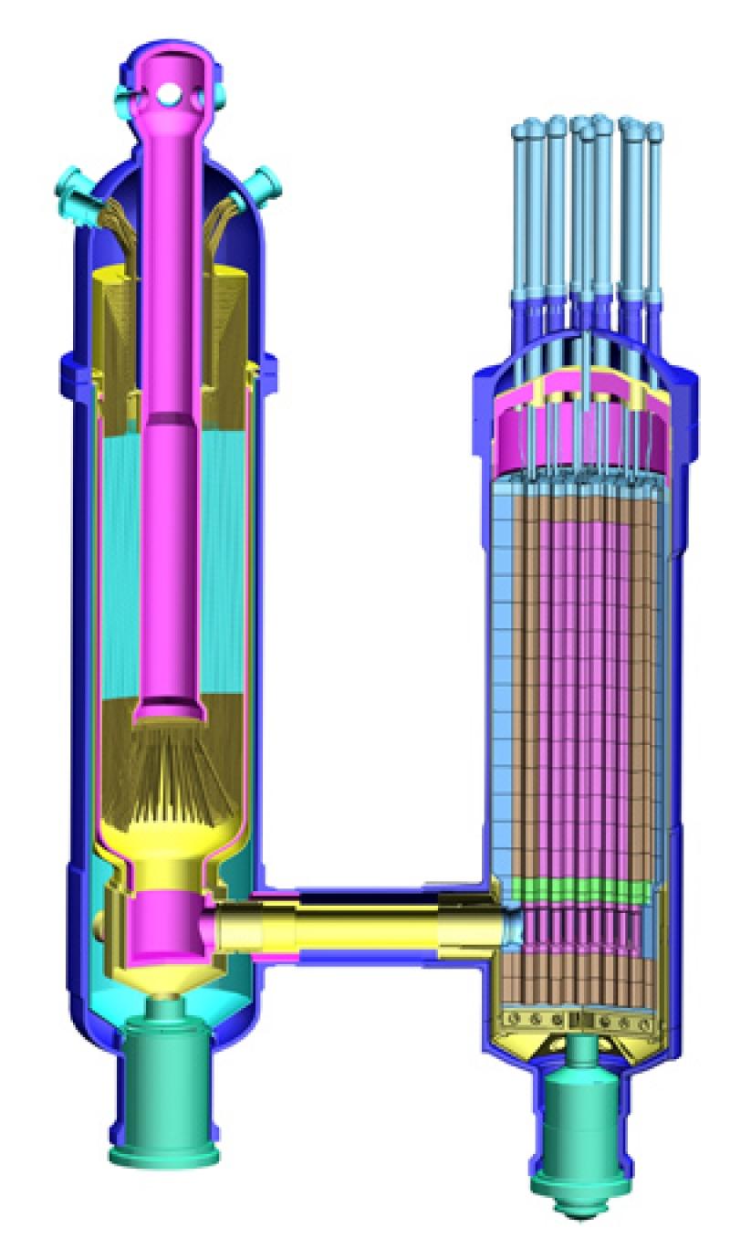 Принципиальная схема ВТГР, разработанного в ОКБМ