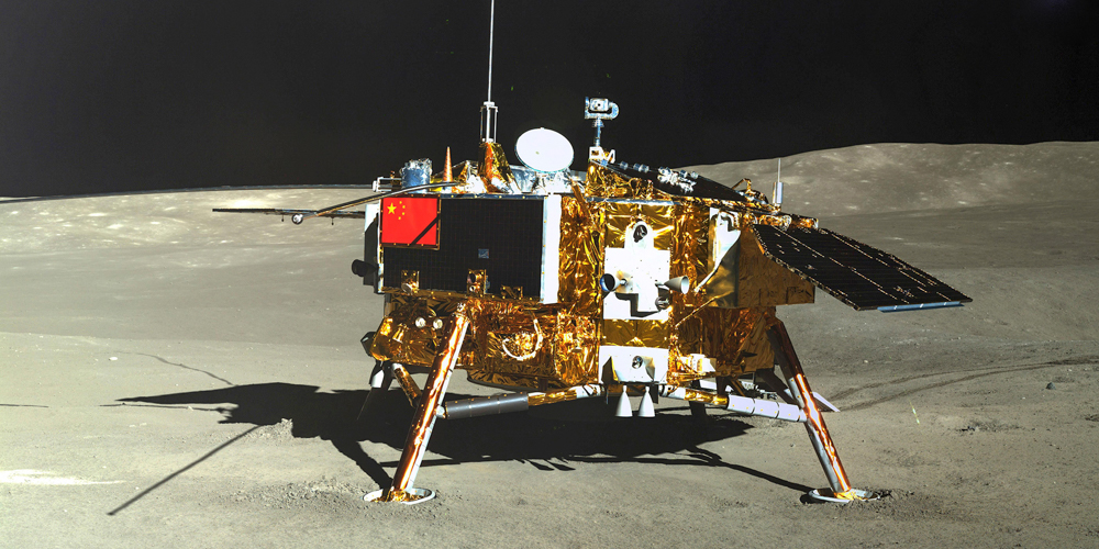 This picture released on January 11, 2019 by the China National Space Administration (CNSA) via CNS shows the Chang'e-4 lunar probe, taken by the Yutu-2 moon rover, on the far side of the moon. - China will seek to establish an international lunar base one day, possibly using 3D printing technology to build facilities, the Chinese space agency said on January 14, weeks after landing the rover on the moon's far side. The agency said four more lunar missions are planned, confirming the launch of a probe by the end of the year to bring back samples from the moon. (Photo by - / China National Space Administration (CNSA) via CNS / AFP) / China OUT        (Photo credit should read -/AFP/Getty Images)